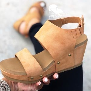 Camel Platform Wedge Sandals